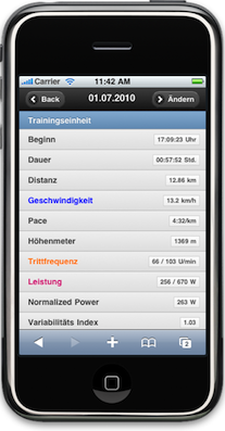 Mobile Version Trainingstagebuchorg